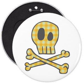 Gingham Skull & Bones - Yellow 6 Cm Round Badge