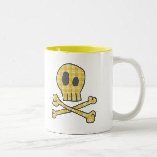 Gingham Skull & Bones - Yellow Coffee Mug