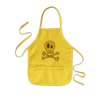 Gingham Skull & Bones - Yellow Kids Apron