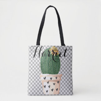 Gingham Tote Bag with Cactus pot Customizable