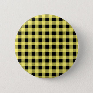 Gingham Yellow and Black 6 Cm Round Badge