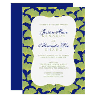 Gingko Tree Leaves Blue and Green Card