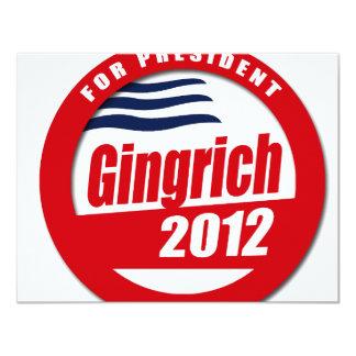 "Gingrich 2012 button 4.25"" x 5.5"" invitation card"