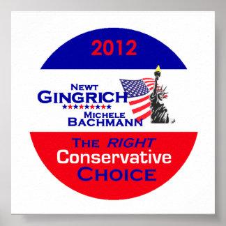 Gingrich Bachmann POSTER Print