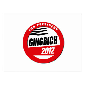 GINGRICH FOR PRESIDENT BUTTON POSTCARD