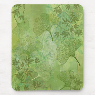 Ginkgo and Bamboo Leaves - Green Colors Mouse Mat