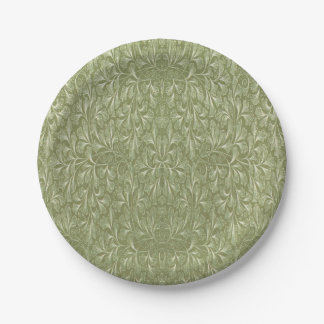 Ginkgo biloba leaf on Avocado green 7 Inch Paper Plate