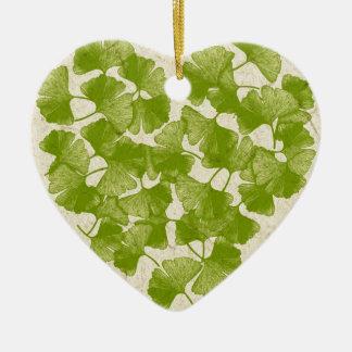 Ginkgo Leaf Heart Christmas Ornament