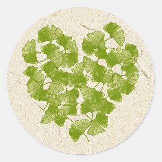 Ginkgo Leaf Heart Classic Round Sticker