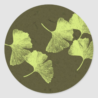 Ginkgo Leaves Classic Round Sticker