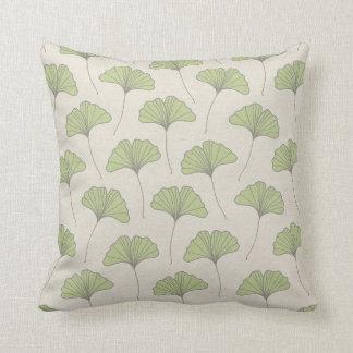 Ginkgo Tree Leaf Pattern Green on Canvas Look Cushion