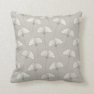 Ginkgo Tree Leaf Pattern Grey and white Cushion