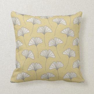 Ginkgo Tree Leaf Pattern Yellow Grey and Cream Cushion