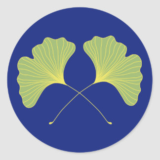 Ginkgo Tree Leaves Blue and Green Classic Round Sticker