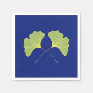 Ginkgo Tree Leaves Blue and Green Paper Napkin