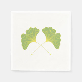 Ginkgo Tree Leaves Spring Green Disposable Napkins