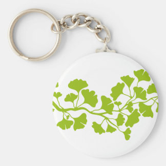 ginkgo tree silhouette with green leaves key ring