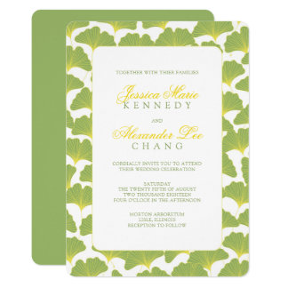 Ginkgo Tree Spring Green Wedding Card