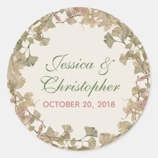 Ginkgo Watercolor Floral Wedding Sticker