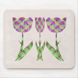 GINNILAW Fine Artworks - Diamond Pattern Flowers Mouse Pad