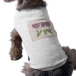 GINNILAW Fine Artworks - Diamond Pattern Flowers Sleeveless Dog Shirt