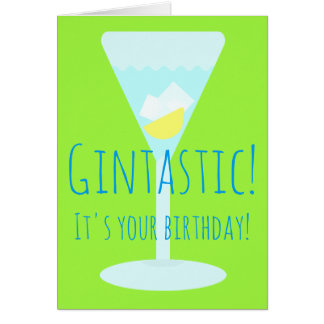 Gintastic Personalised Happy Birthday Greetings Greeting Card