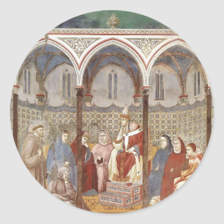 Giotto: St. Francis Preaching a Sermon to Pope Round Stickers