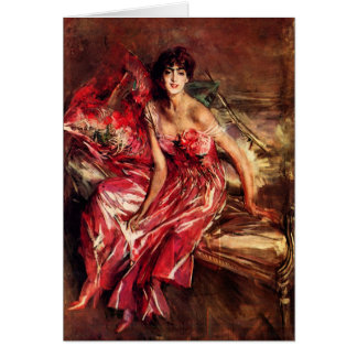 Giovanni Boldini - Lady in Red Greeting Card