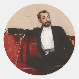 Giovanni Boldini:Portrait of John Singer Sargent Round Stickers