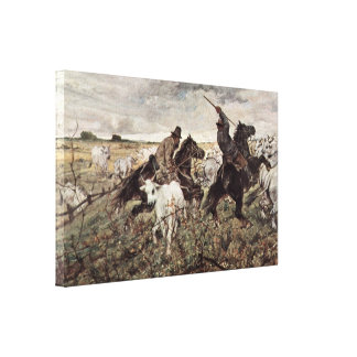 Giovanni Fattori - Mounted shepherd with bull Stretched Canvas Prints