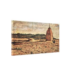 Giovanni Fattori - The Haystack Stretched Canvas Print