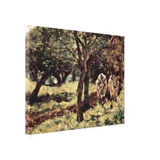 Giovanni Fattori - two oxen in the olive grove Canvas Print