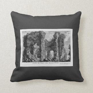 Giovanni Piranesi- Ruins of Tempio della Vecchia Throw Pillow