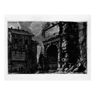 Giovanni Piranesi-Veduta with Arch of Titus Postcard