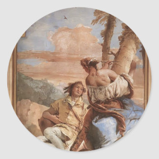 Giovanni Tiepolo: Angelica Carving Medoro's Name Round Stickers