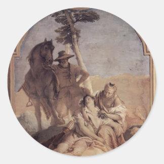 Giovanni Tiepolo: Angelica&shepherd caring Medorus Round Sticker