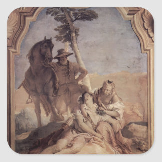 Giovanni Tiepolo: Angelica&shepherd caring Medorus Square Stickers