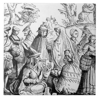 Gipsies fortune telling, after a woodcut in 'Cosmo Large Square Tile