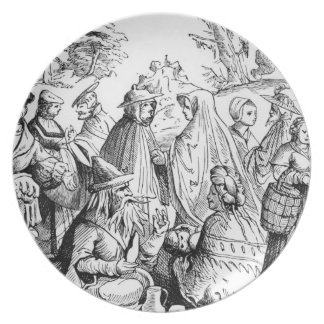 Gipsies fortune telling, after a woodcut in 'Cosmo Party Plate