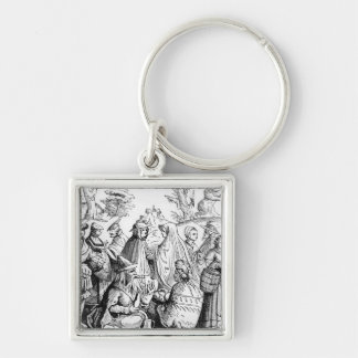 Gipsies fortune telling, after a woodcut in 'Cosmo Silver-Colored Square Key Ring