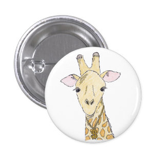 giraffe 3 cm round badge
