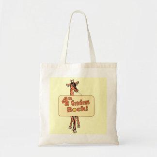 """Giraffe """"4th Graders Rock"""" Design Tote Bag"""