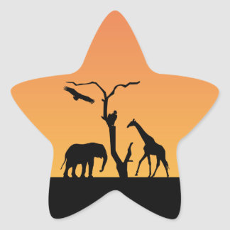 Giraffe african silhouette sunset sticker stickers