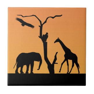 Giraffe african sunset silhouette tile, trivet small square tile