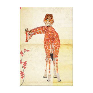 Giraffe & Amber Owl Canvas Stretched Canvas Prints