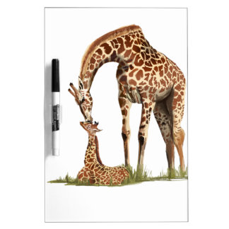 Giraffe and baby calf kissing dry erase board