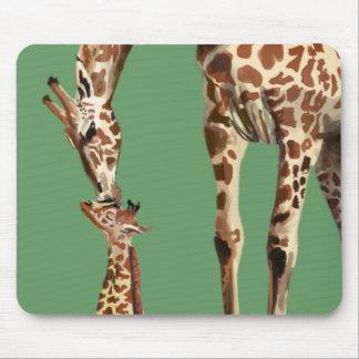 Giraffe and baby calf kissing mouse mat