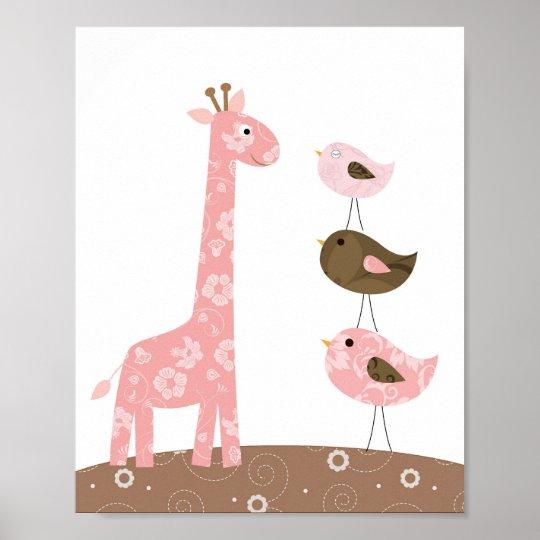 Giraffe and bird nursery art poster