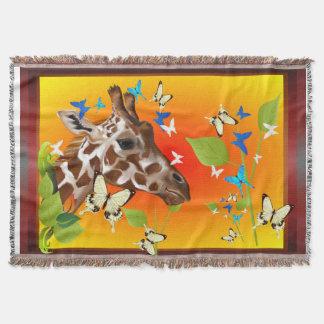 GIRAFFE and BUTTERFLIES Throw Blanket