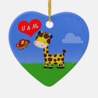 Giraffe and Butterfly in Love - Heart Ornament